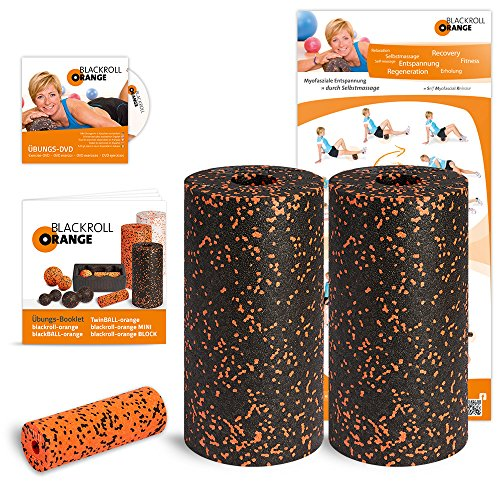 Blackroll Orange Die Faszienrolle Twin-Set Standard (inkl. Übungs-Poster und -Booklet)